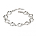 Silver White Ribbon Detail Bracelet