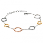 Silver/Gold Open Disc Station Bracelet