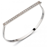 Silver Pave Hinged Bangle