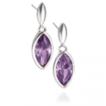 Silver/Purple Marquise Drop Earring