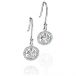 Silver Round Pave Circle Earring