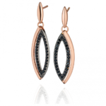 Gold/Black Marquise Drop Earrings