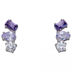 Silver/Purple Irregular Amethyst Earring