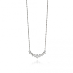 Silver Marquise Cluster Row Necklace