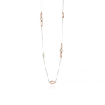 Silver/Rose Gold Marquise Station Necklace