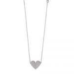 Silver Heart Pave Necklace