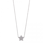 Silver Star Pave Necklace