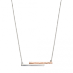 Silver/Rose Gold Hammered Effect Necklace