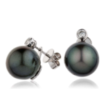 PEACOCK PEARL & DIAMOND EARRINGS