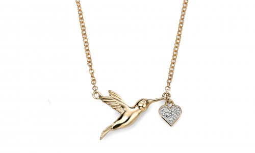 9ct Gold  Diamond Hummingbird Pendant