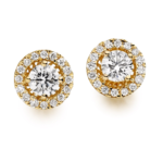HALO YELLOW GOLD DIAMOND EARRING