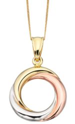 9ct Triple Gold Hoop Pendent & Chain