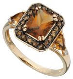 9ct yellow gold Diamond & Honey Citrine ring