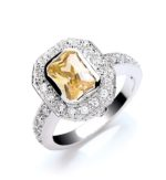 YELLOW CUSHION CUT RING