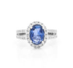 ALICIA VIVID BLUE SAPPHIRE AND DOUBLE ROW DIAMOND HALO RING