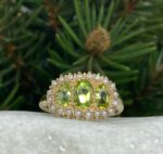 Art Deco, Vintage inspired Peridot and Pearl Statement Ring